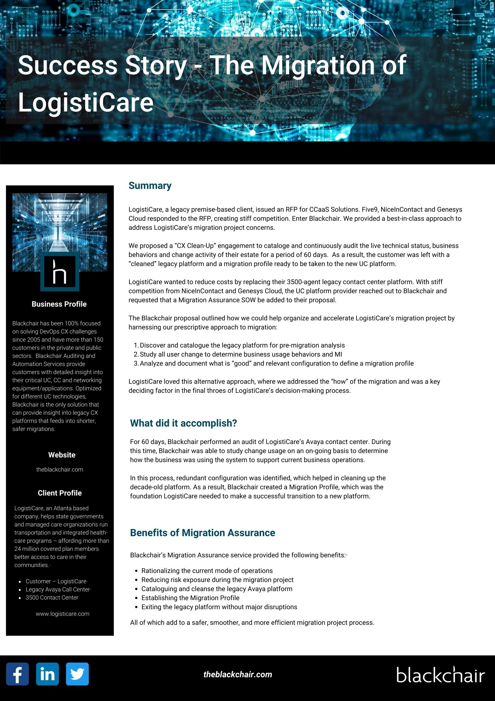 Blackchair - One Page Asset - Migration of Logisticare (Success Story)